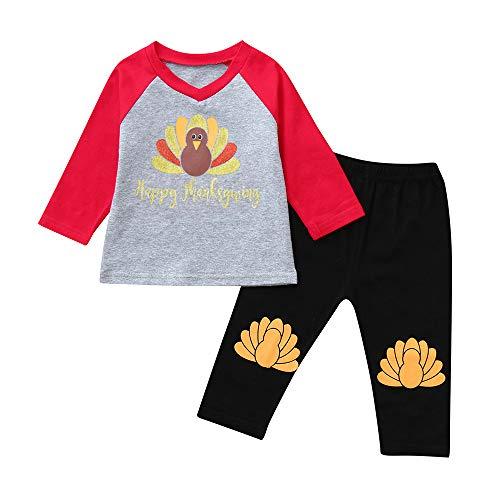 VENMO Infant Baby Jungen Mädchen Brief Türkei Tops Hosen Thanksgiving Day Outfits Set Baby Mädchen Langarm Strampler Kleidung Set Top Langarm Shirt + Pants Bekleidungsset