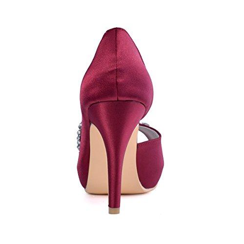 ElegantPark EP11045-IP Escarpins noeud Femme Chaussures de mariee mariage soiree AC01 Bourgogne