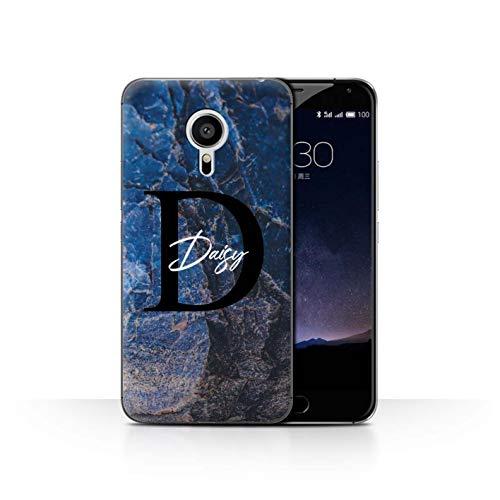 eSwish Personalisiert Individuell Mode Marmor Stein Hülle für Meizu Pro 5 / Blauer Perlen Ranit Design/Initiale/Name/Text Schutzhülle/Case/Etui