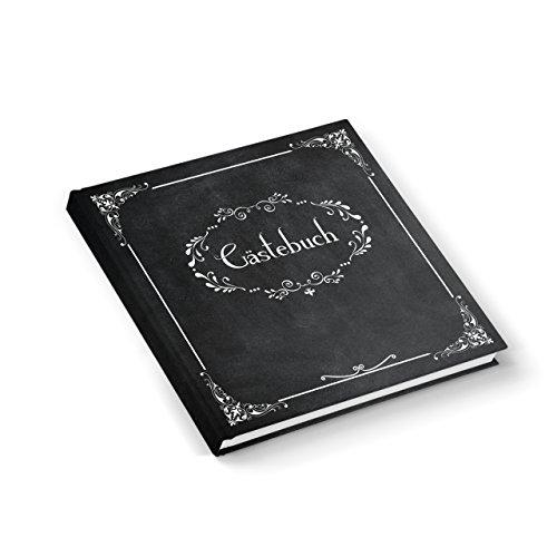 Edel nostalgisch schwarz weißes Gästebuch 21 x 21 cm 164 Seiten Vintage Nostalgie Look - Hochzeitsgästebuch Tafelkreide Look - HARDCOVER - mit jedem Stift beschreibbar!