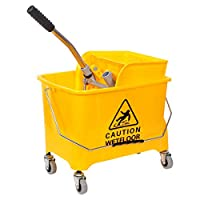 Mop Bucket with Wheel and Wringer - 20 Liters, Yellow