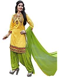 OSLC Yellow Cotton Patiala Salwar Suit Women's Cotton Patiala Salwar Bottoms Blue Designer Cotton Semi-stitched...