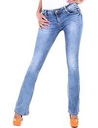 BD Damen Jeans Straight Leg Hüftjeans in blau