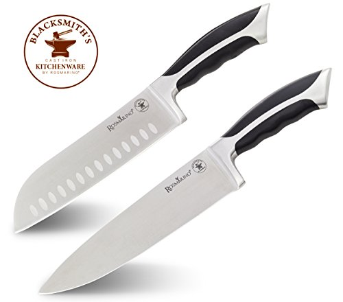 ROSMARINO Profi Küchenmesser 20 cm und Santokumesser 18 cm - Premium 2 Pack - Alzweckmesser; Kochmesser, Fleischmesser, Gemüsemesser, Schinkenmesser, Chefmesser