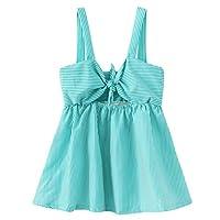 TriLance Girls Kids Sleeveless Tie Knot Stripe Summer Casual Short Dress Clothing