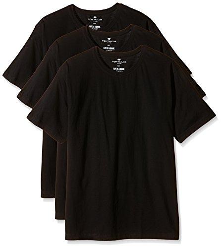 TOM TAILOR Herren T-Shirt Shirt, 1/2, Rundhals 3er Pack Schwarz (black 9303)