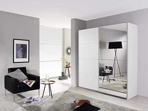 Rauch Möbel Subito Schrank Kleiderschrank Schwebetürenschrank in Weiß mit Spiegel 2-türig inkluisve Zubehörpaket Basic 2 Kleiderstangen, 2 Einlegeböden BxHxT 181 x 197 x 61 cm