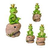 trendaffe Frosch Gartenfigur mit Bewegungsmelder - Froschkönig