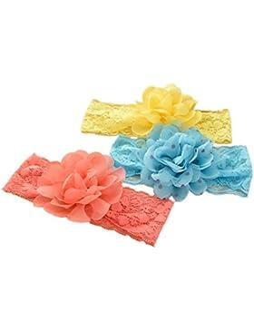 JMITHA 3 Paquete recién nacido y bebés arco del pelo de la venda elástico bebé turbante pelo niñas diadema arco
