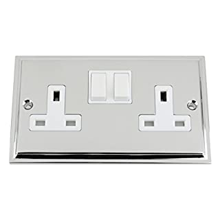 Socket 2 Gang - Polished Chrome - Victorian - White Insert Plastic Switch - 13A Double Wall Plug Socket