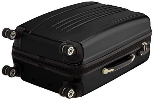 Packenger Koffer - Stone (L), Schwarz, 4 Zwillingsrollen, 81 Liter, 3,5Kg, 66cm, Koffer mit TSA-Schloss, Erweiterbarer Hartschalenkoffer (Polycarbonat) reißfester Trolley Reisekoffer, glänzend - 5