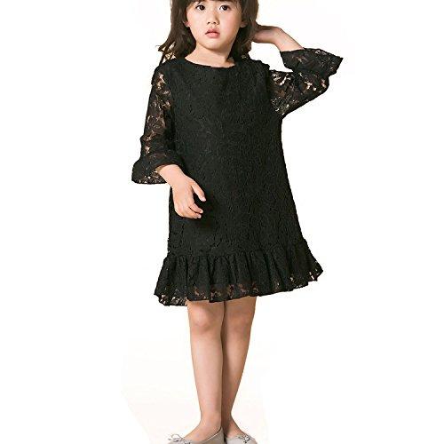 Mädchen Kleider Spitze Kind Kleid mit Hülse Weiches Baumwollfutter Lotus Blatt zum Party Hochzeit Beiläufig (5-6 Jahre, (Kinder Kleider Schwarz)