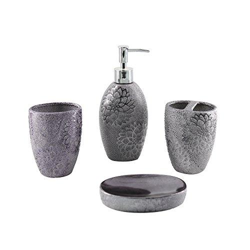 Mystery&Melody Set de baño Cerámica Suministros de baño Dispensadores de lociones y jabones Portacepillos de dientes Rinse Cup Accesorios de baño Conjuntos (4PCS)