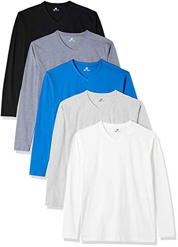 Lower East T-Shirt a Maniche Lunghe con Scollo a V, Pacco da 5, Multicolore...