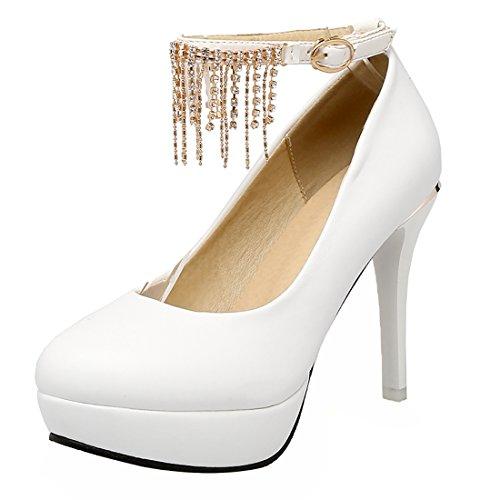 Caviglia Confortevole Strass Tacco Scarpe Uh Su Donna Con Cinghia Fibbie Chiusura Bianco Da Alto q8wnX7