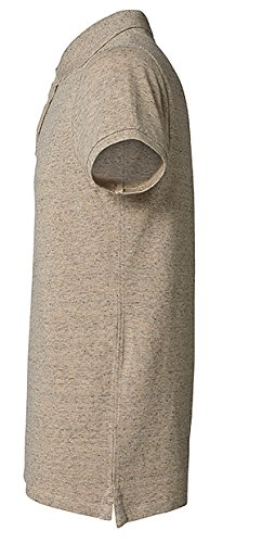 YTWOO Herren Poloshirt Aus Biobaumwolle, Poloshirt Herren Aus Baumwolle (Bio), Polo Shirt Bio, Polohemd Bio. Die Knopfleiste mit Modischen Falten Lehmgrau-Melange