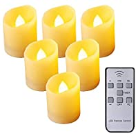 JVSISM Flameless Candles,Remote Control LED Flickering Candles Battery Operated Dancing Flame Tealight with Timer Function, 3 Modes & Brightness Adjustable, Warm White, 6 Pack