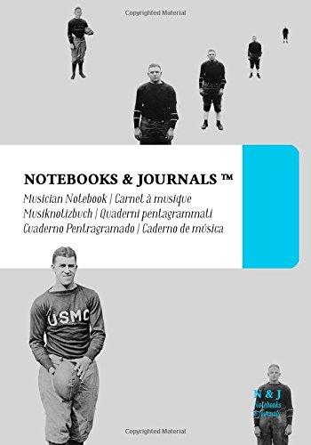 Notenpapier B5 Notebooks & Journals, Amerikanischer Fußball (Vintage-Kollektion), Extra Large: (Musiknotizbuch, Musiknotenheft, Notenblock, Notenheft)Soft Cover (17.78 x 25.4 cm)
