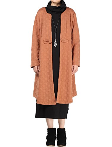 Vogstyle Damen Cusual Langarm Trench Coat mit einer Drop Art 1 Orange M