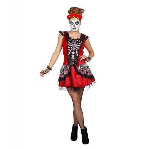 (PARTY DISCOUNT Sale Damen-Kostüm Kleid Dia De Los Muertos,Gr.38-40)