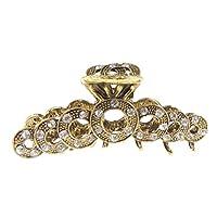 Ladies Vintage Look Metal Diamante Crystal 7cm Hair Claw Clamp Circles Gold Clear