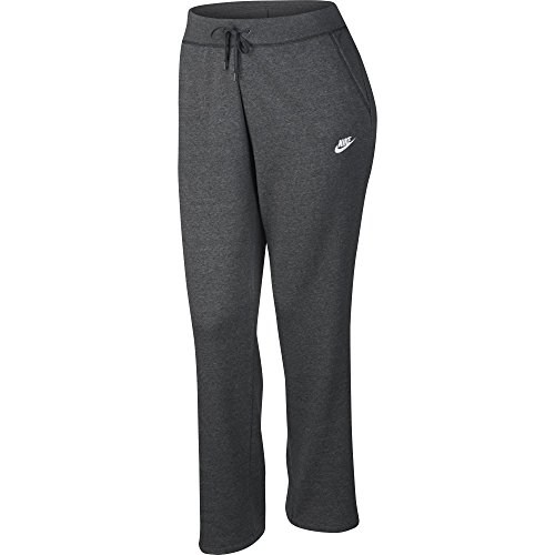 Nike Damen Sportswear Plus Fleece Club Pants, Damen, Women's NSW Pant Fleece Open Hem Club Plus, Charcoal Heather/Dark Grey/White, 1X - Nike Activewear