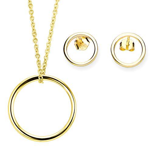 URBANHELDEN - Edles 925er Sterlingsilber Schmuck-Set: Kette u Ohrringe - Damen Halskette u. Ohrstecker - Schmuckset: Amulett u. Studs - Kreis Filigran Echtsilber Geschenkset - Gold
