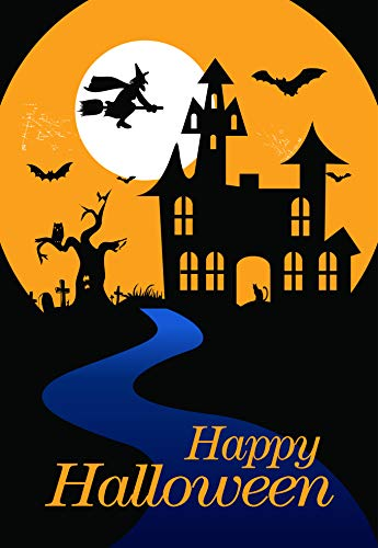 Happy Halloween Haunted Castle Garten-Flagge, Hofdekoration, Hexe auf Besen, Fledermäuse und Vollmond, doppelseitiges Dekorationsbanner, 12,5 x 18 cm