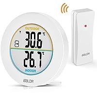 TEKFUN Thermometer,Digital Innen- und Außenthermometer, Innen Außentemperatur Monitor mit Funk-Außensensor, LCD Display, und ℃/℉ Schalter (Weiß1)