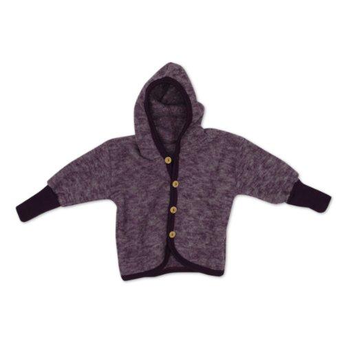 Cosilana Baby Jäckchen mit Kapuze aus weichem Wollfleece, Größe 62/68, Farbe Lila Melange, Wollfleece 100% Schurwolle kbT - 100% Wolle Jacke