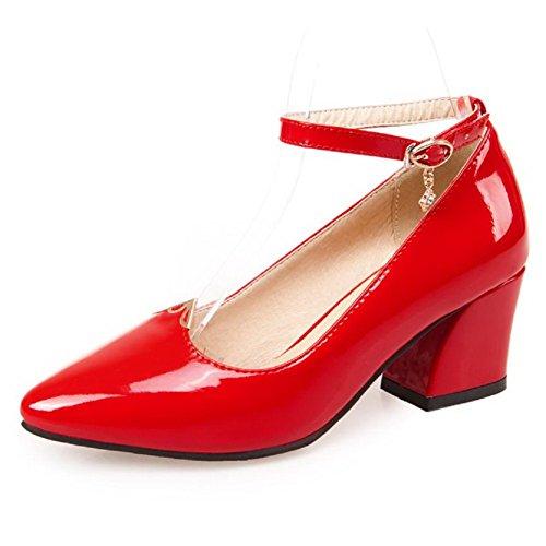 VogueZone009 Femme Couleur Unie Pu Cuir à Talon Correct Pointu Boucle Chaussures Légeres Rouge