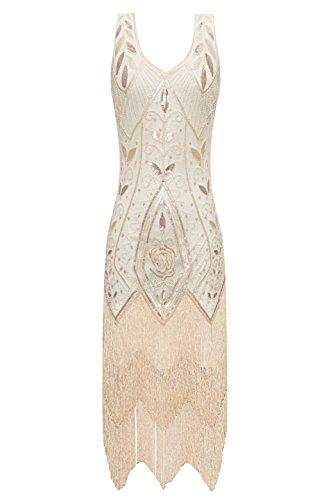 Metme Damen der 1920er Jahre Vintage Fringe Perlen großer Gatsby Partykleid (Plus 20er Jahre Size Kleid)