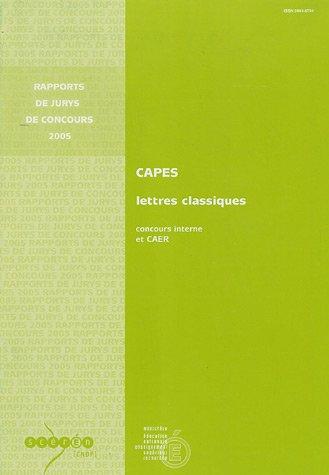 CAPES Lettres classiques : Concours interne et CAER