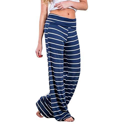 Yogahosen Damen Lang Lockere Pyjama Beiläufige Strand Hosen Sport Frauen Sommer Bequeme Schlafanzughose Damen Hauptkleidung Baggy mit Elastischen Bund Weite Hose Gestreifte ()