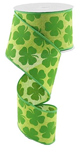 10 M Kelly Green (Shamrock Canvas Wired Edge Ribbon - 10 Meter 2.5