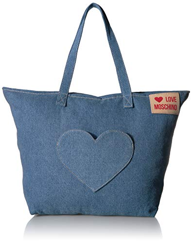 Love Moschino - Borsa Denim, Bolso de mano Mujer, Azul (Blu), 13x36x53 cm (W x H L)