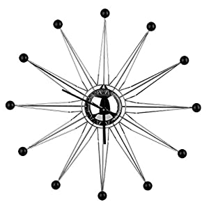 Premier Housewares Metal Spike Wall Clock - Black