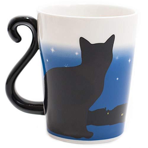 JJLEzlAM Tazas De Café Tazas De Desayuno Taza De La Cerámica del Gato Negro Que Diseña Lindo Regalo Creativo De La Taza De Café De La Taza De La Oficina