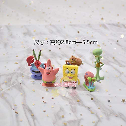chmhy Kleine Ma Baoli Backen Dekoration Cartoon Szene Puppe Modell Puppe Kind Geburtstag Insert Card Stecker Dekoration Kuchen Spongebob