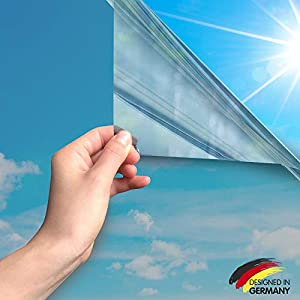 MARAPON Spiegelfolie selbstklebend [45×200 cm] – Spiegelfolie Fenster Sichtschutz UV-Schutz, Infrarot-Schutz – Wärmeschutzfolie Dachfenster