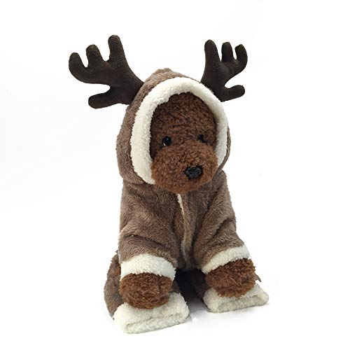 CWZJ Dog Cat Christmas Rentier Kostüm, Funny Pet Elk Kostüme Kostüme Kostüme Dress, Puppy Fleece Outfits Warm Hoodie Tierfestival Kleidung,XL