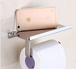 Generic High-end Roll Paper Tissue Holder Brass Rack Mobile Phone Rack Bathroom Toilet Paper Wall Mount White
