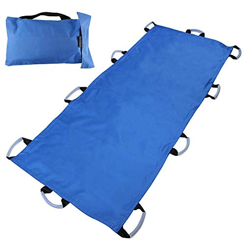 Medizinische Bahre (GLJY Medizinische weiche Leinwand Bahre/Notfall Patienten Mover tragbare Transporteinheit, Roll Bahre Patienten Mover-10 Griffe-350 kg, blau)
