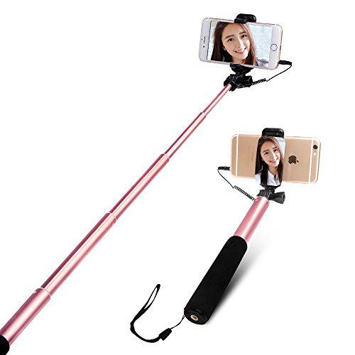 Bastone Selfie iPhone 6 / 6s, CE-Link Selfie Universale Rosa [ No Bluetooth ] per Smartphone Android (Samsung / Huawei) e iOS (Non per iPhone 7) con Legare e Specchio, Allungabile Fino a 90 cm [Scattare le tue foto è diventato più facile] - Rosa