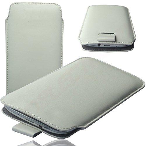 HQ WEIß Slim Cover Case Schutz Hülle Pull UP Etui Smartphone Tasche für Kazam Thunder 347 345 345L