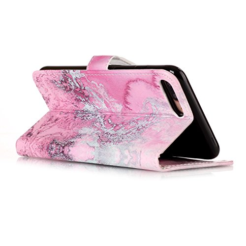 iPhone 7 Plus Hülle,Lederhülle HandyTasche für iPhone 7 Plus,JAWSEU Vintage Retro Relief Prägung Muster PU Leder Hülle im Bookstyle Folio Schutzhülle Lederhülle Brieftasche Flipcase Handytasche Wallet Rosa Meer Marmor