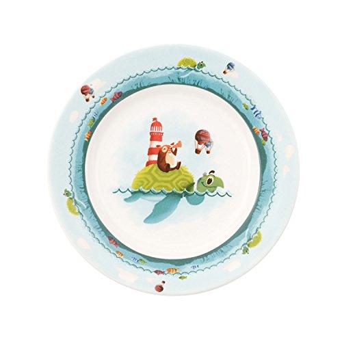 Villeroy & Boch Chewy Around The World Assiette Plate pour Enfant, 22 cm, Porcelaine Premium, Blanc/Bleu