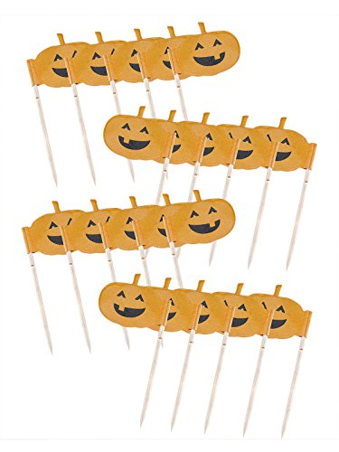 ende Kürbisse Halloween Cupcake Deko-Sticks 20 Stück Orange 7cm Einheitsgröße (Cupcakes Halloween Kürbis Kind)