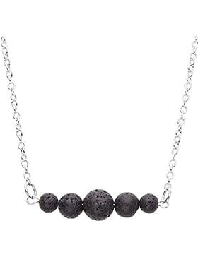 juliewang 2schwarz Stein Lava Bead minimalistisch ätherisches Öl Diffusor Halskette Aromatherapie Kette Schmuck