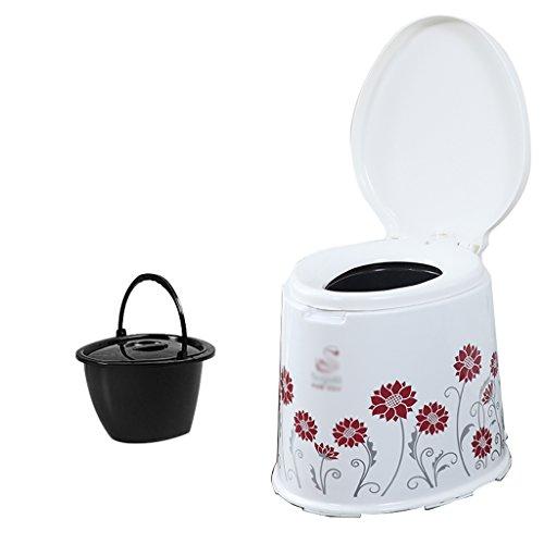 Chaise Commode Léger et Portable Camping Toilette (Couleur : Rouge)